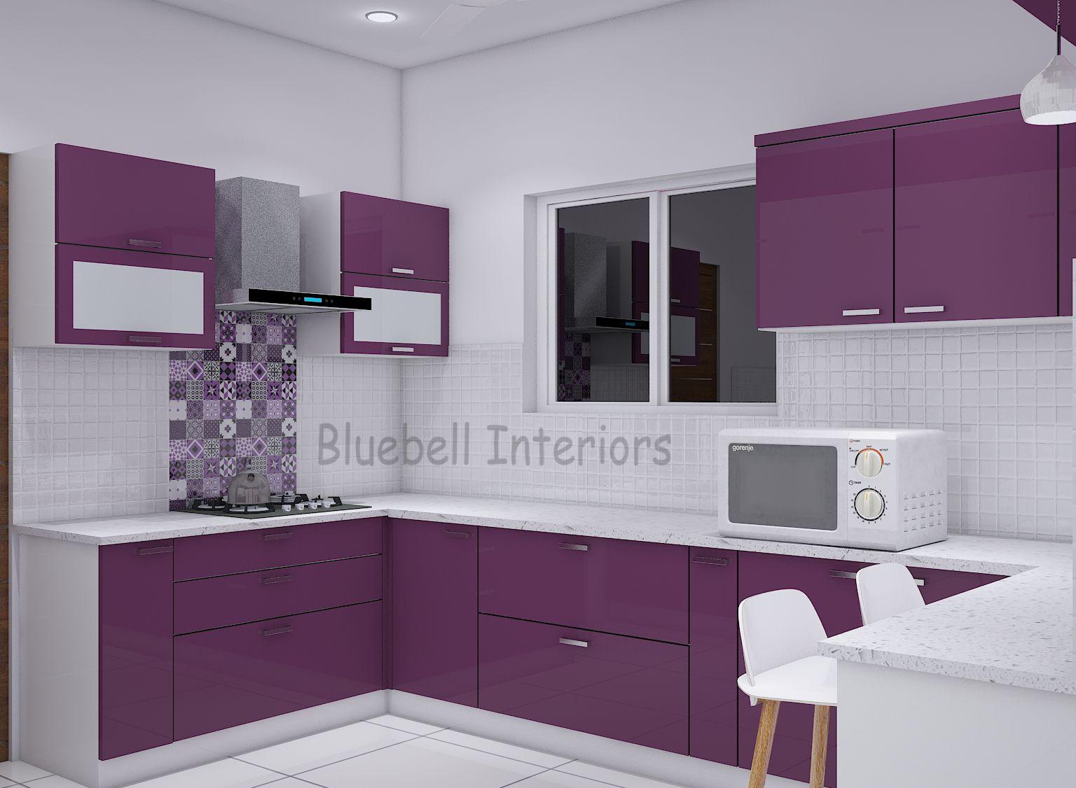 U shape kitchen, purple & white kitchen, white quartz counter top ...