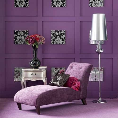 modern lila stilvoll liegestuhl wohnzimmer Violett, Flieder - Wohnzimmer Modern Lila
