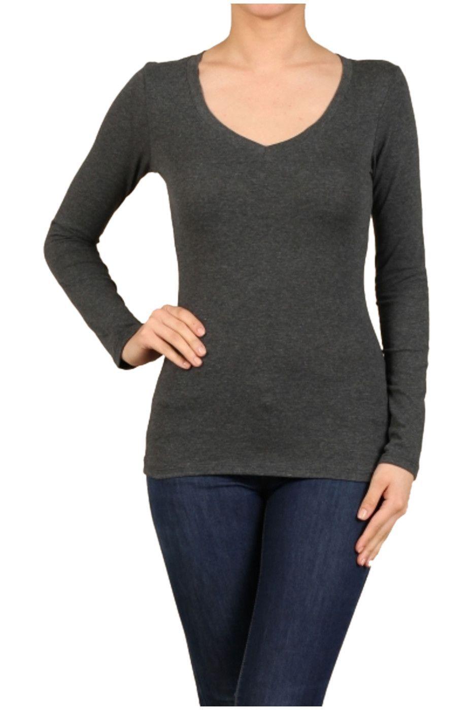 Basic Long Sleeve Scoop or V-Neck Top