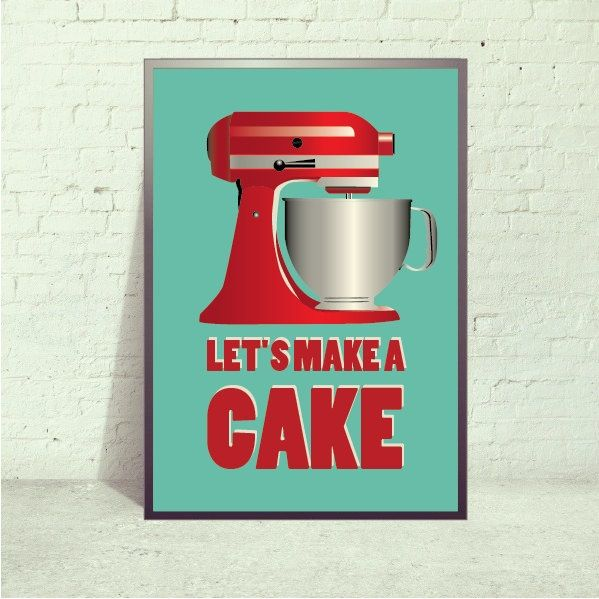 Poster Retro Kitchen Mixer art Print, via Etsy.