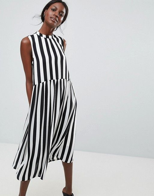 dedce04c090 Black   White Striped Dress