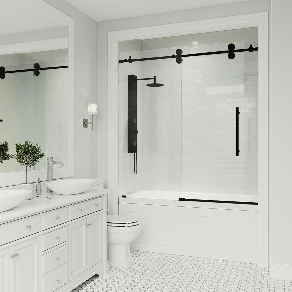Photo of VIGO Elan 56 to 60 in. x 66 in. Frameless Sliding Tub Door in Clear/Matte Black with Clear Glass and Handle-VG6041MBCL6066 – The Home Depot
