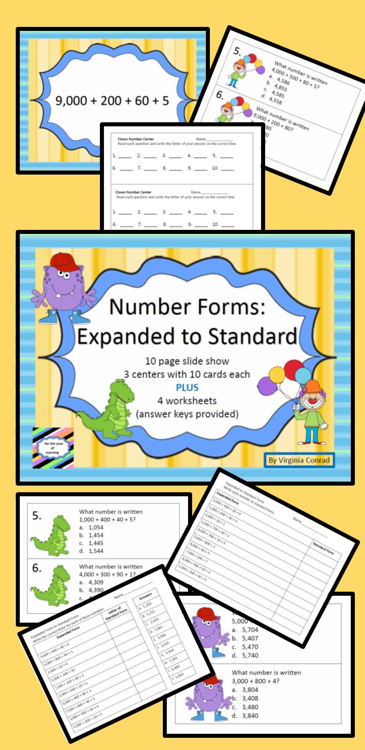 Expanded to standard form 4 digits slide showcentersworksheets get your kiddos changing numbers from expanded to standard form in no time with this slide third grade falaconquin