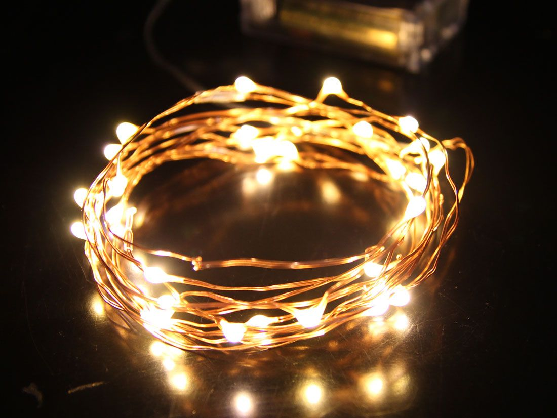 Fairy light wedding decoration ideas  m battery operated warm white fairy lights on copper  perfect The