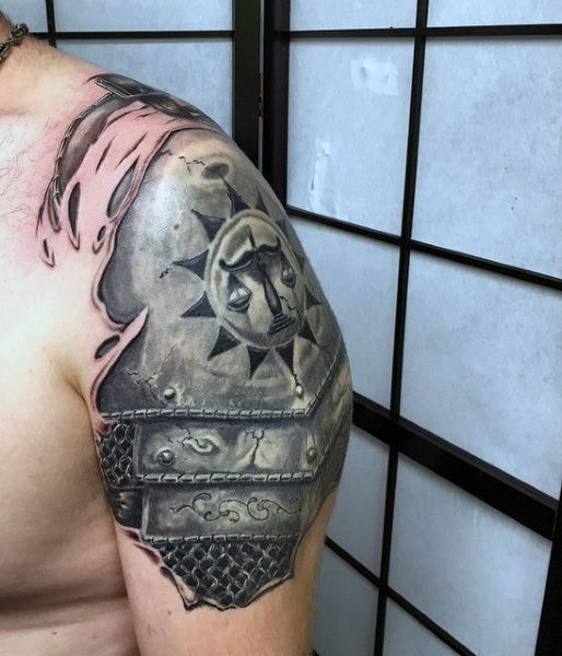 Silver Steel Knight Armor Shoulder Tattoo For Men ...