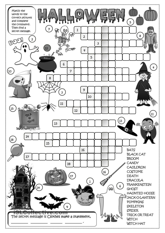 Halloween Crossword Halloween Lesson Halloween Worksheets Halloween Elementary [ 1440 x 1018 Pixel ]