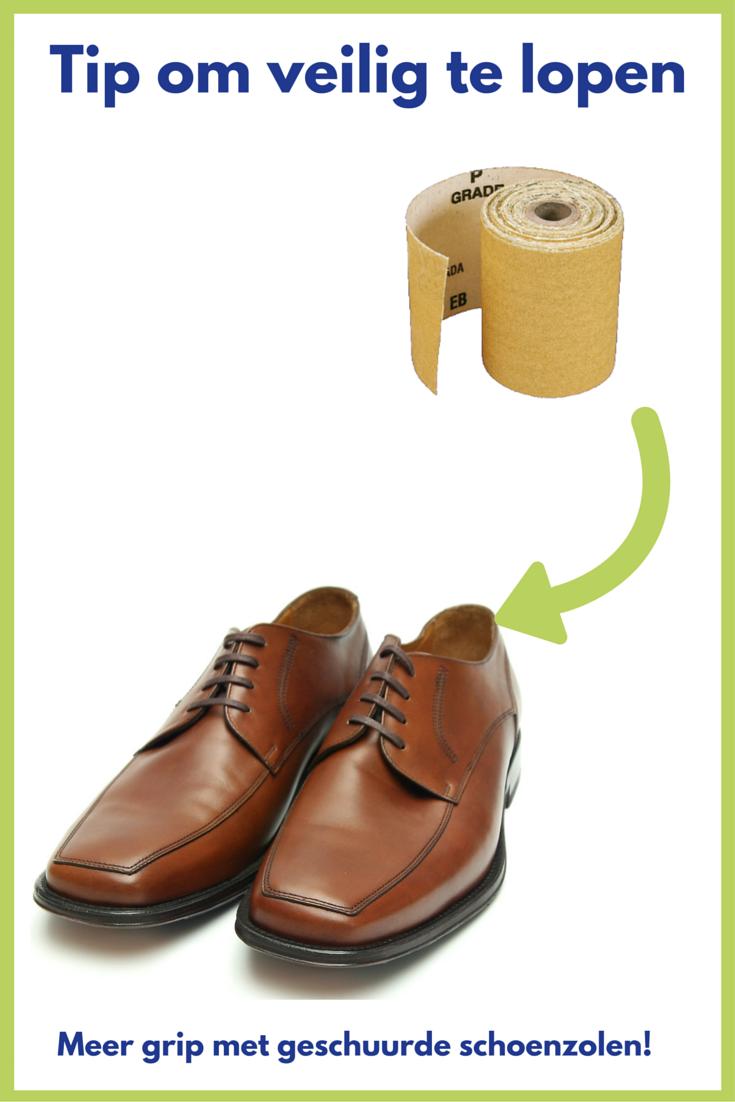 TIP: Schuur de zool van je nieuwe schoenen altijd even, voor meer grip met je zool. Zo verklein je de kans op uitglijden. Fijn! Meer tips: http://bit.ly/1qFZ1q6