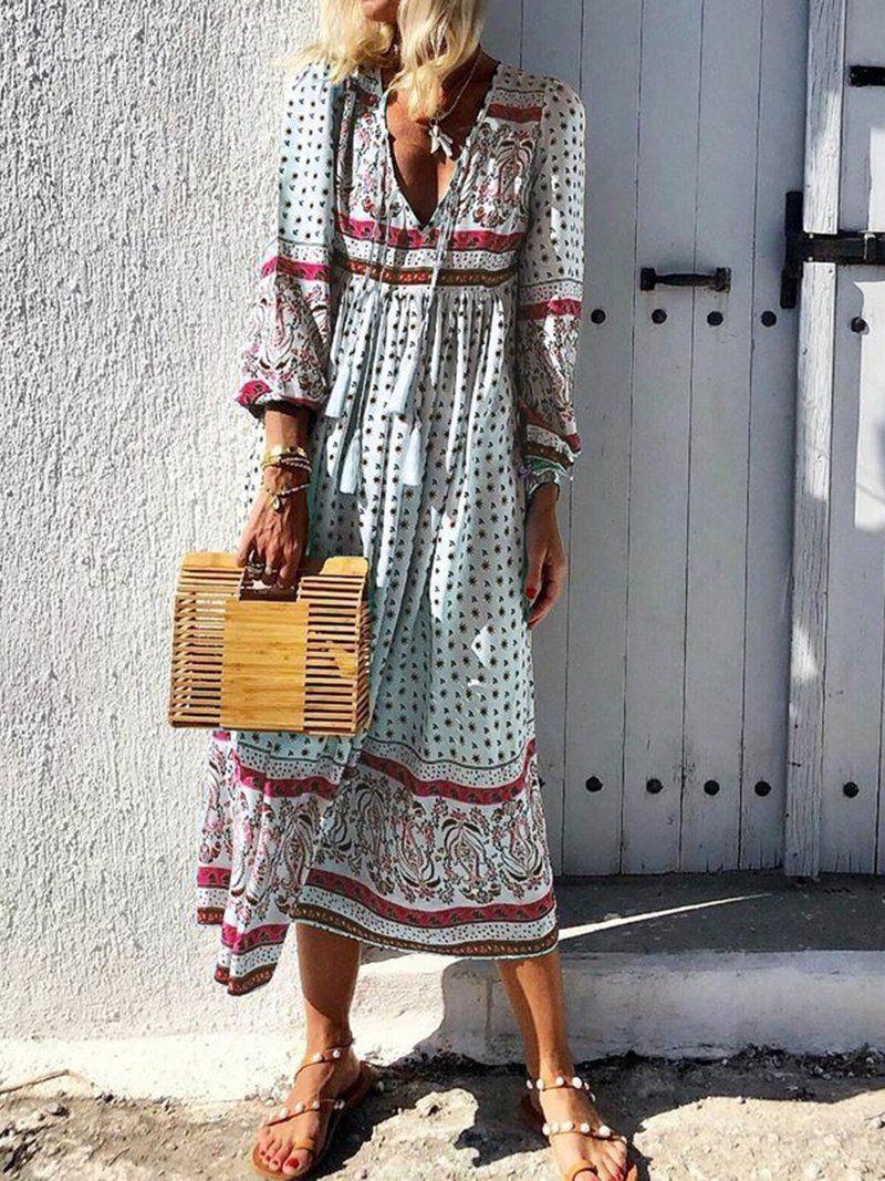 Paneled V Neck Summer Dress Fashion 3 4 Sleeve Bohemian Dress Long Sleeve Print Dress Maxi Dress With Sleeves Summer Fashion Dresses [ 1067 x 800 Pixel ]