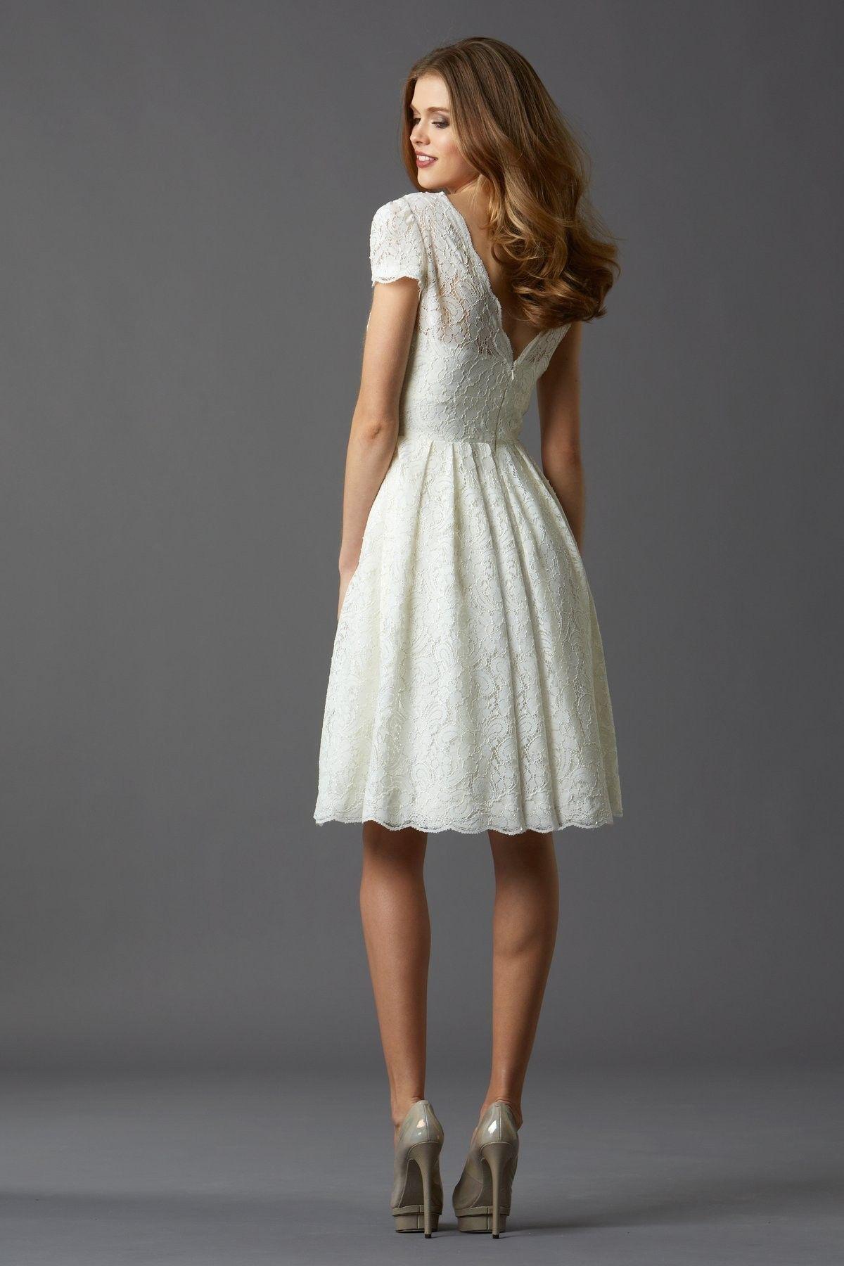 Short Sleeve Tank Top Knee Length Lace A Line Wedding Dress ...