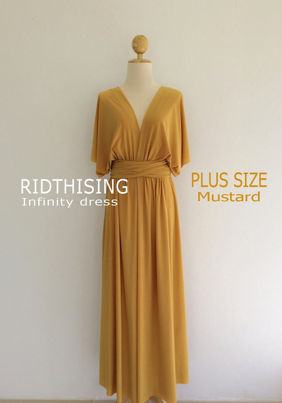 526c9052bd0 Plus Size Maxi Mustard Infinity Dress Bridesmaid Dress Prom Dress  Convertible Dress Wrap Dress