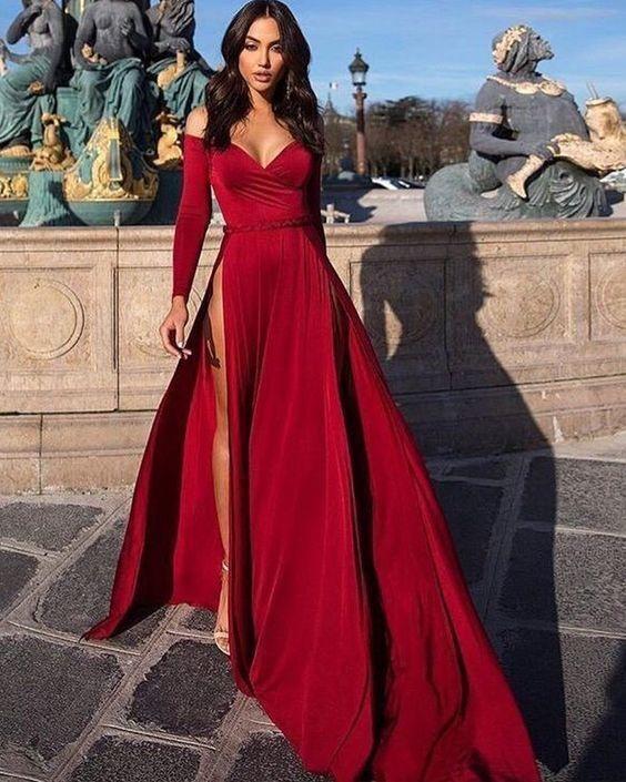 Off The Shoulder Satin Burgundy Long Sleeved Evening Dress With High Slit Prom Dresses 15