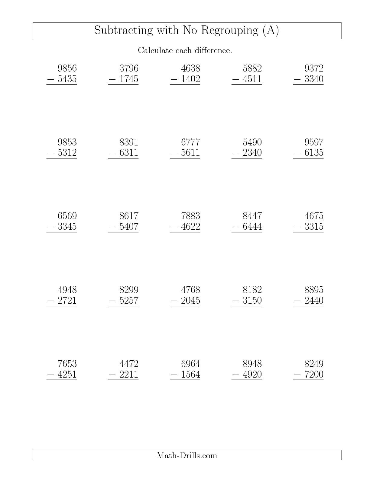 Free 4 digit subtraction worksheets with regrouping