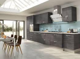 Blue Walls Kitchen Oak Cabinets Light And White Design Decoration Using Glass Cabinet