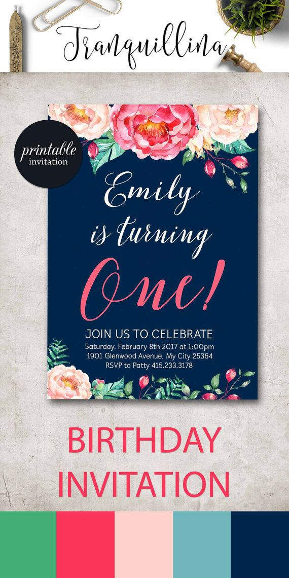 Birthday Invitation Girl First Floral Pink Peony 1st Printable 2nd