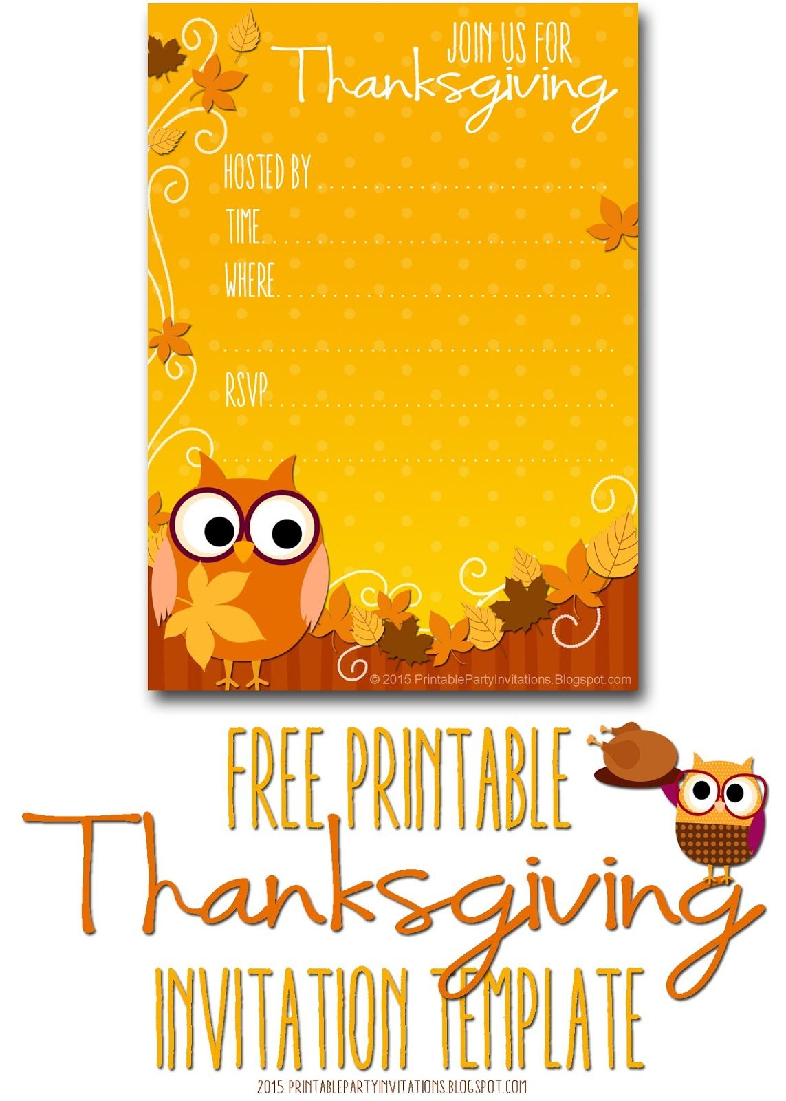 Professionally Designed Free Printable Party Invitations For Nearly - Thanksgiving party invitation templates