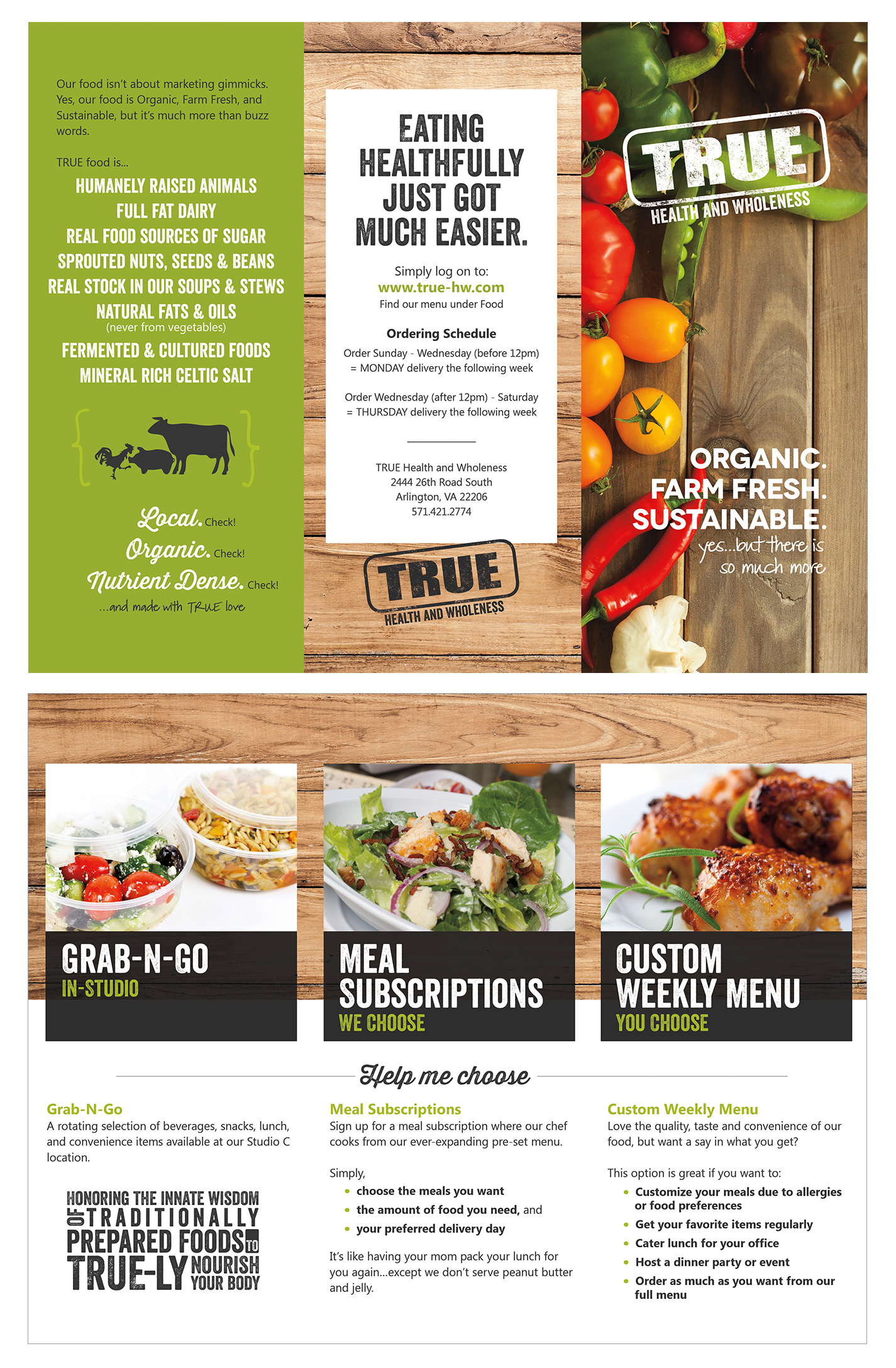 tri fold brochure design for true health and wholeness food heth