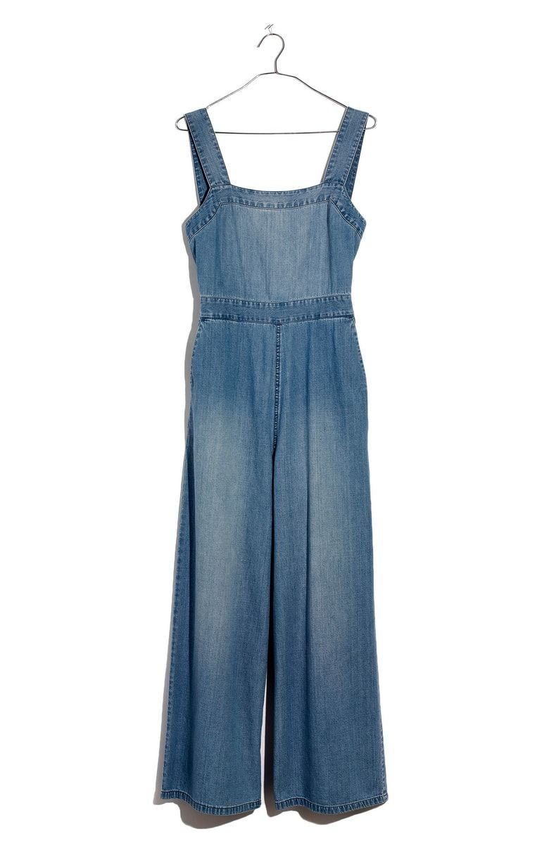 84949b69f00 Free shipping and returns on Madewell Apron Bow-Back Denim Jumpsuit at  Nordstrom.com. This flattering