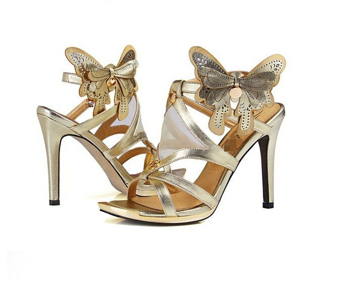 Women'S Mesh Butterfly Ankle Strap Hollow Stilettos Pumps Luxury Shoes