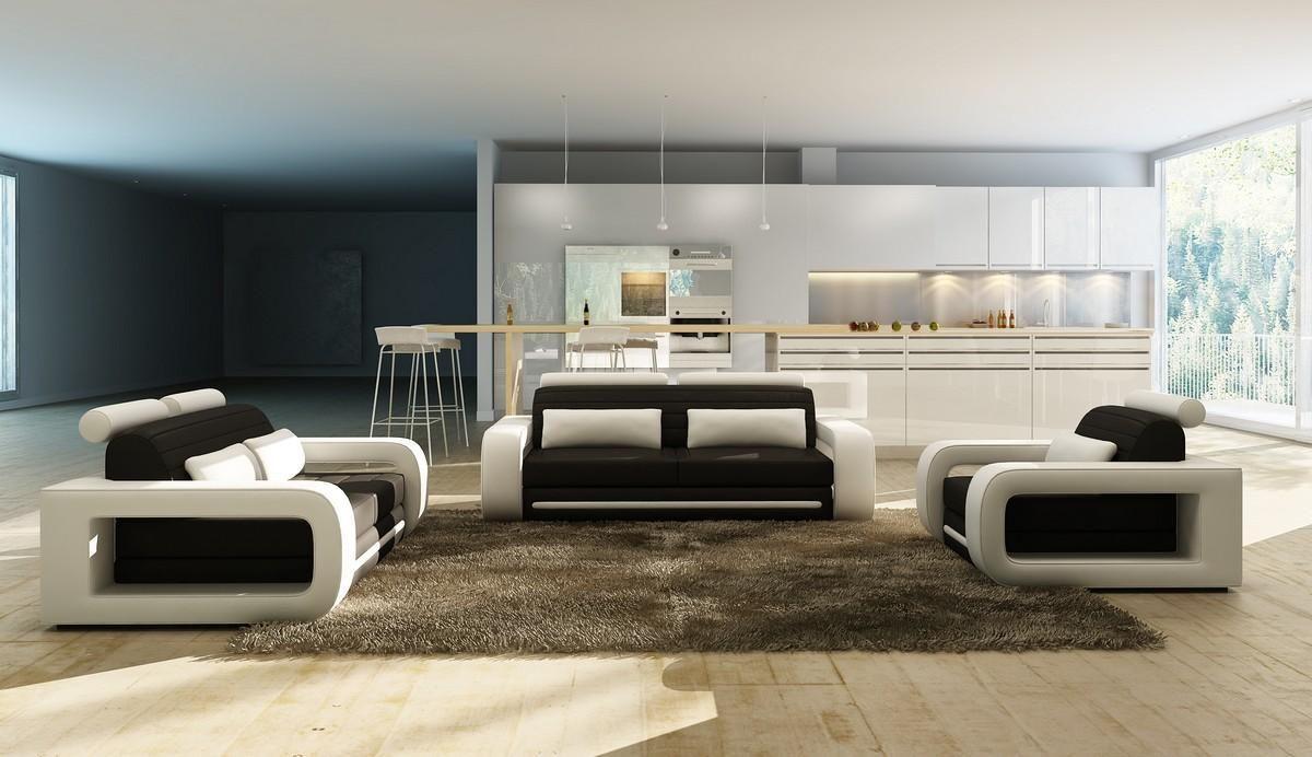 Divani Casa 1005b Modern Black And White Bonded Leather Sofa Set  ~ Furniture Leather Sofa Set