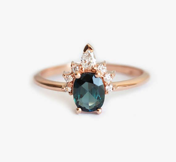 Oval Teal Sapphire Ring Rose Gold With Half Halo Diamond Crown