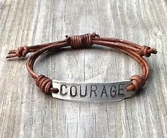 Photo of COURAGE ID Bracelet, silver, leather, Hand Stamped Pewter, Inspirational jewelry, bracelet with words, affirmation bracelet