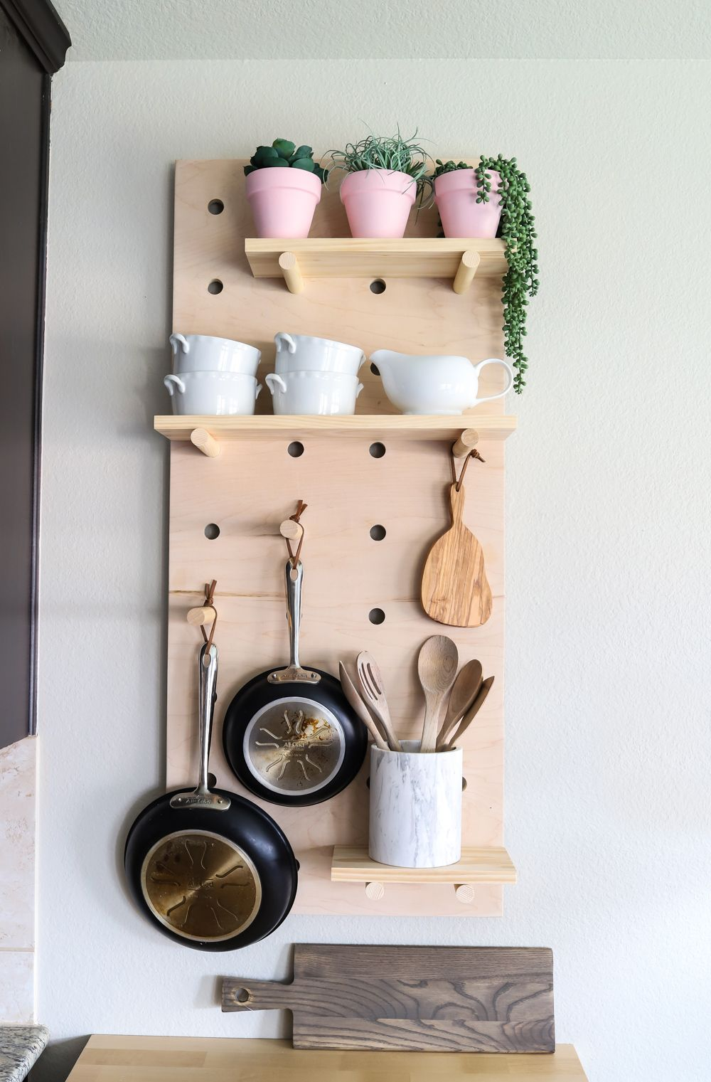 Oversized pegboard shelves shelves kitchens and woodworking