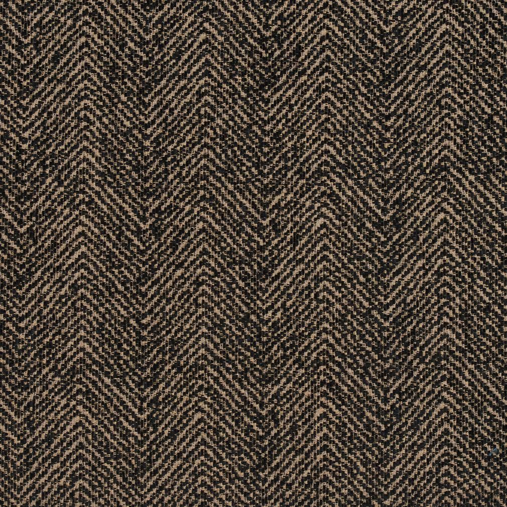 E730 Brown And Black Herringbone Woven Textured Upholstery Fabric In