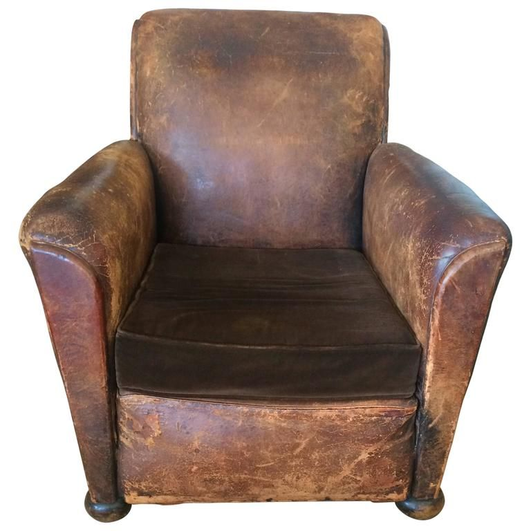 Yummy Distressed Leather And Velvet French Club Chair