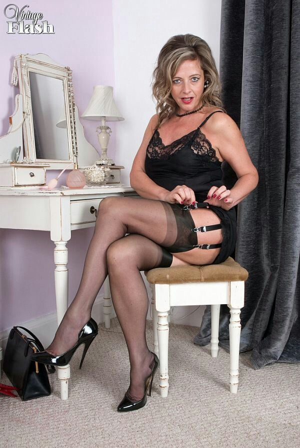 Milf Put On Her Best Black Stockings