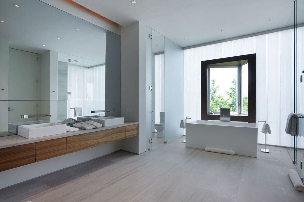 Contemporary Master Bathroom with Double sink, Rectangle Ceramic Vessel Bathroom Sink without Overflow, frameless showerdoor