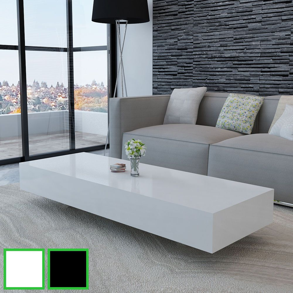 Merveilleux New Coffee Table Modern Furniture Side Table MDF High Gloss White/Black  115/85cm
