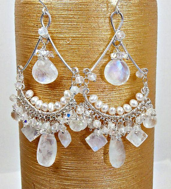 Moonstone Chandelier Earrings Bridal Pearl by DoolittleJewelry, $215.00