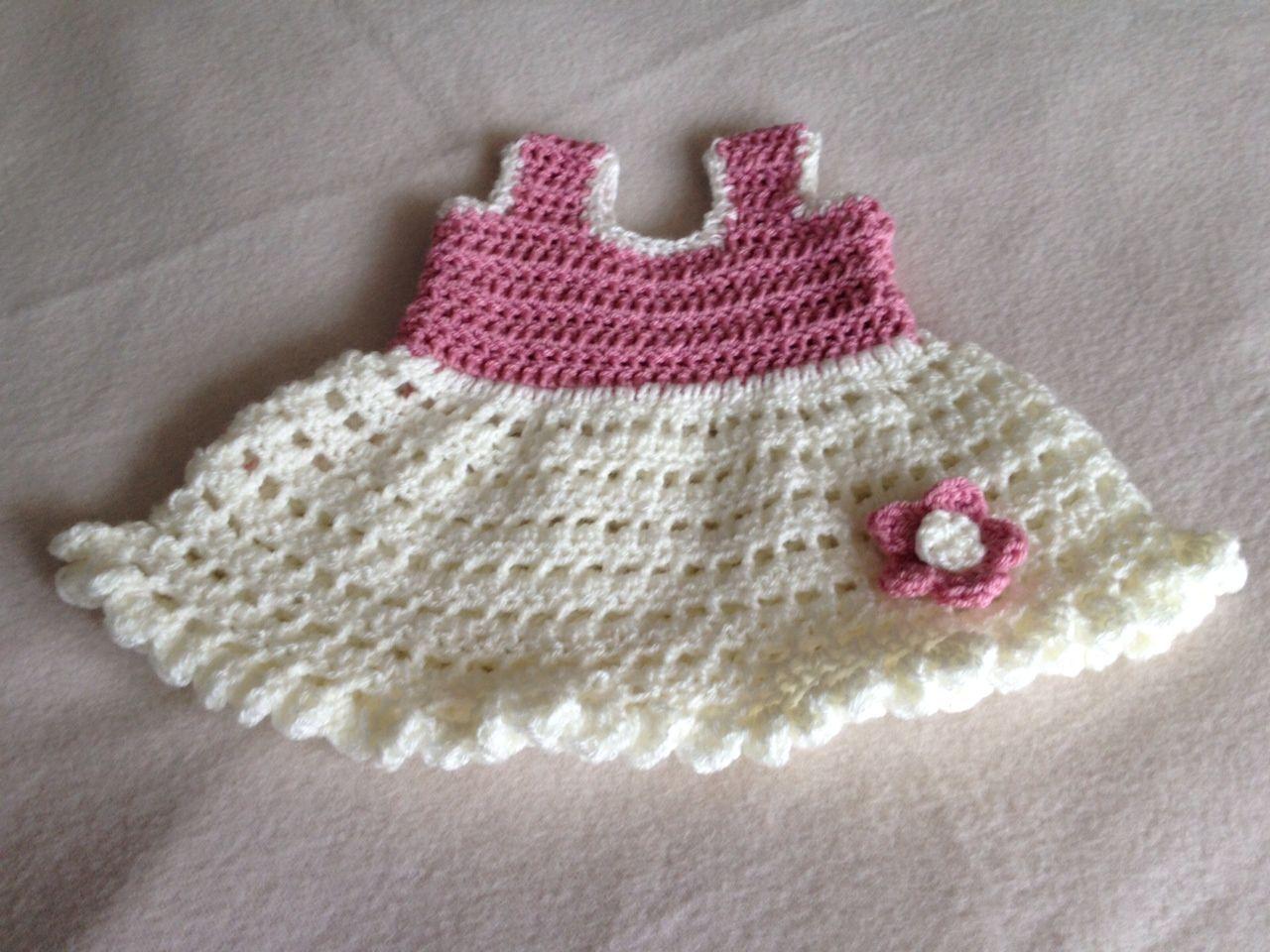 Frilly flower crochet baby dress. Free written pattern ... thanks ...