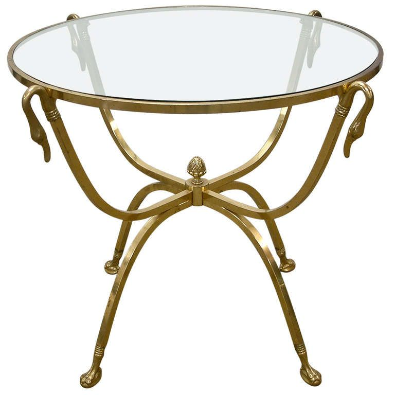 1stdibs.com | Italian Brass And Glass Swan Motif Table In The Style Of  Jansen