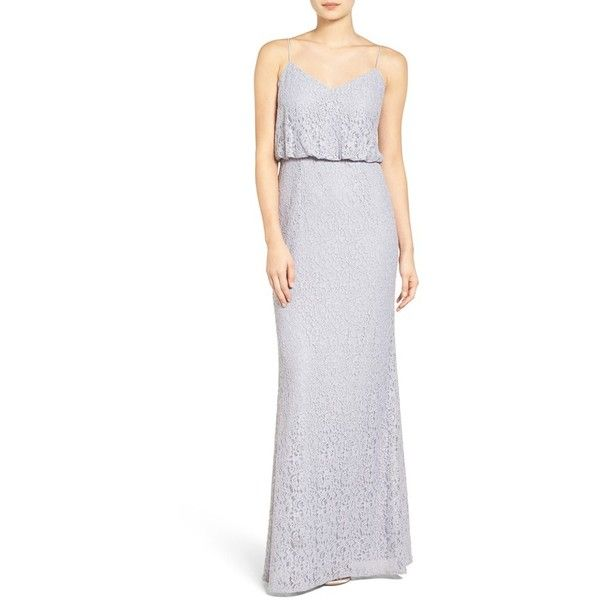 Women\'s Adrianna Papell Lace Blouson Gown ($198) ❤ liked on ...