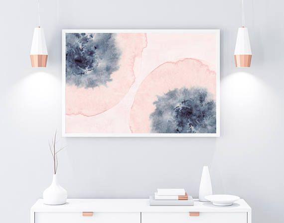 Horizontal Wall Art Printable Art Pink Blue Wall Art Blush Etsy Horizontal Wall Art Blue Printable Art Pink Art Print