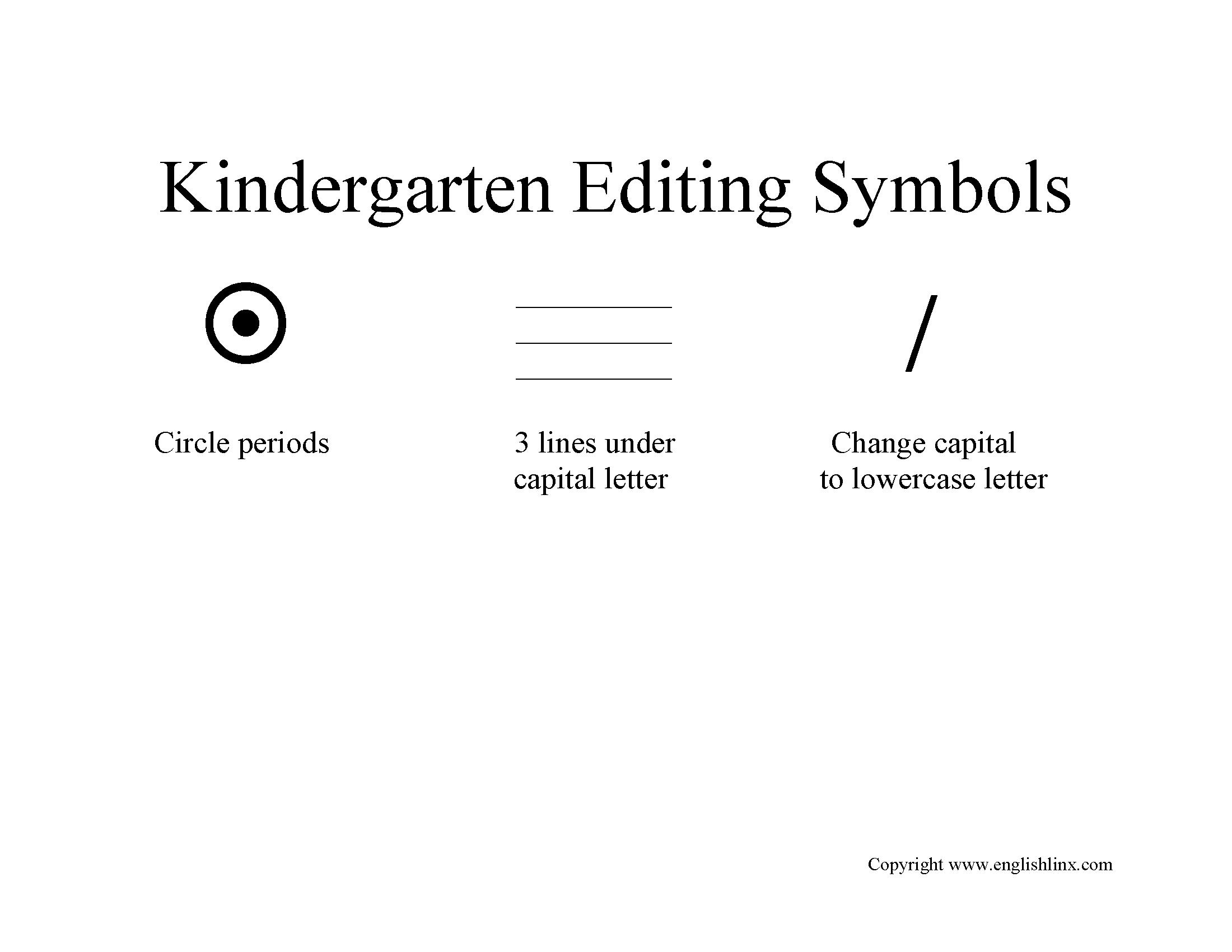 K 5 Editing Symbols Worksheet