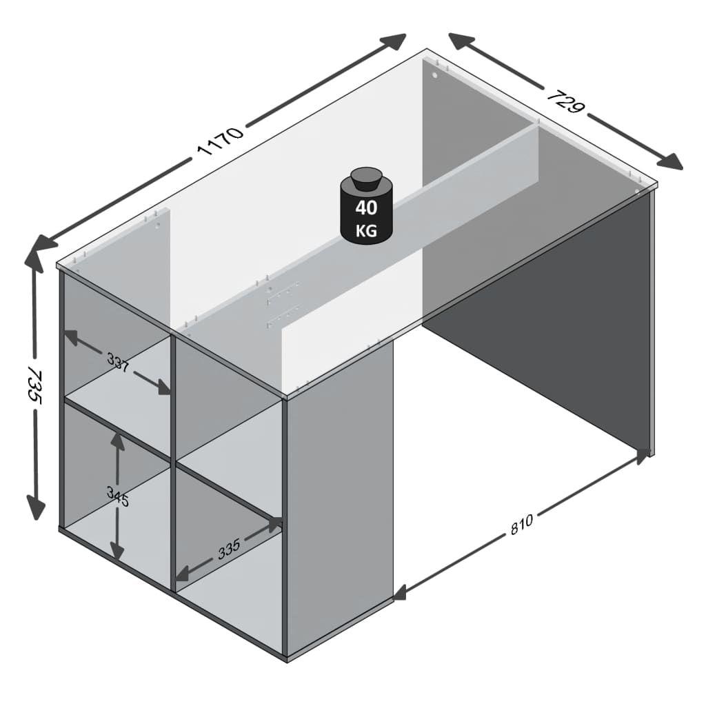 ZNTS FMD Desk with Side Shelves 117x73x75 cm Concrete 428731