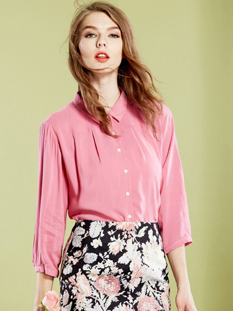 Rose Pleat Detail 3/4 Sleeve Plain Shirt   abaday