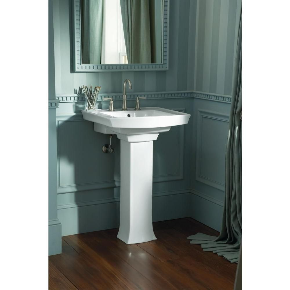 Kohler Archer Pedestal Combo Bathroom Sink In White K 2359 8 0 The Home Depot