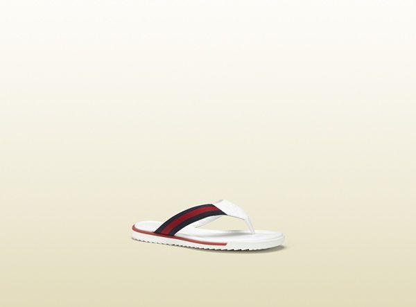 sl73 beach white leather thong sandal