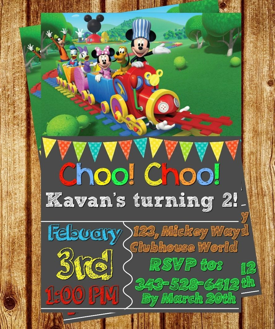 Mickey Mouse Clubhouse Choo Choo Express Trains Birthday Invitation ...