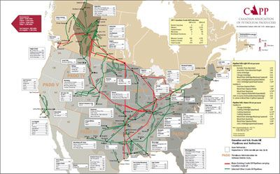 Map of Canadian and U.S. pipelines and refineries. | Crude oil | Gas ...