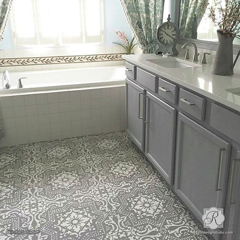 Lisboa tile stencil stencil patterns wall stenciling for Paint over vinyl floors