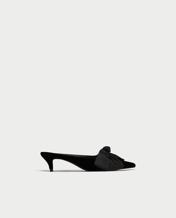 Image 2 Of Kitten Heel Mules With Bow From Zara Kitten Heels Heels Heeled Mules