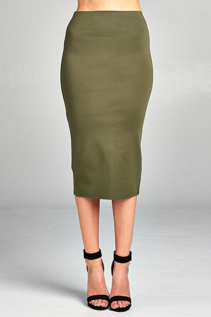 747685cb7 Ladies fashion ponte pencil midi skirt in 2019 | Things to wear ...