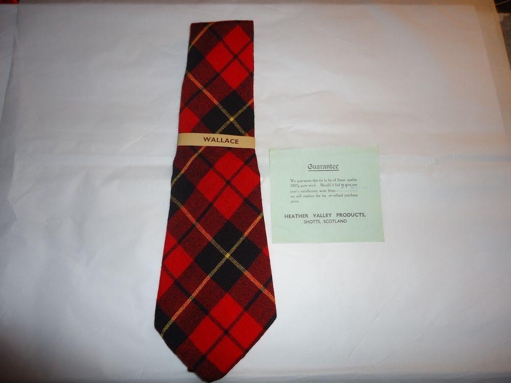 Vintage NOS 100% Pure Wool Men's Tie.  Wallace Tartan Plaid Pattern #HeatherValleyProducts #NeckTie