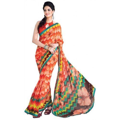 Triveni Orange Faux Georgette Office Wear Printed Indian Saree TSHTXLU159B - Wedding Sarees by TriveniSarees