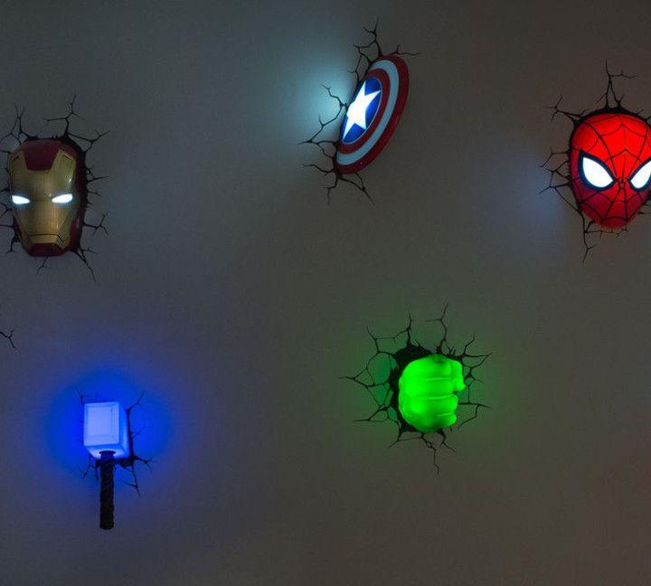 Kids Room Stuff, Avengers Kids Room, Superhero Nightlights, Cool Avengers  Stuff, Avengers Night Lights
