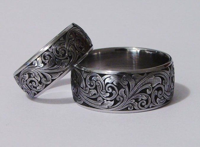 Scrolling Wedding Bands 12mm Stainless band pipe cut with